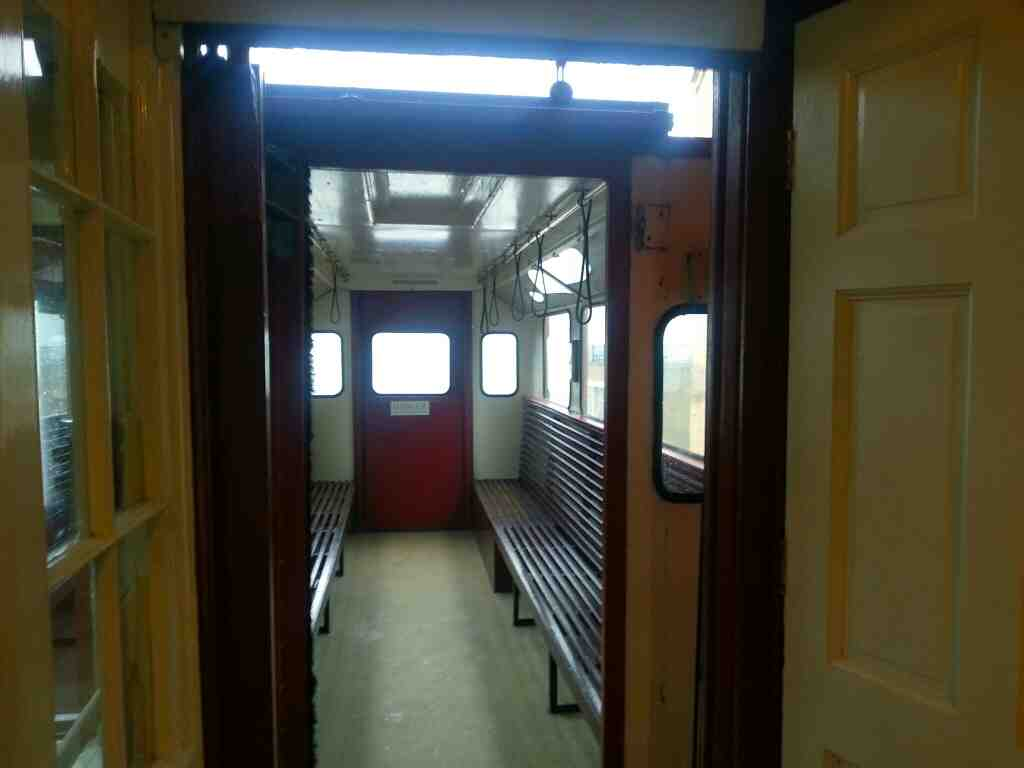 Inside of a Scarborough cliff lift or tram