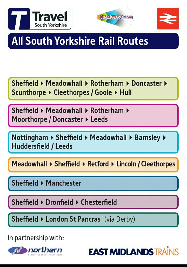 Download the South Yorkshire rail timetable Doncaster Meadowhall Sheffield Barnsley Manchester Huddersfield London St Pancras timetable train times