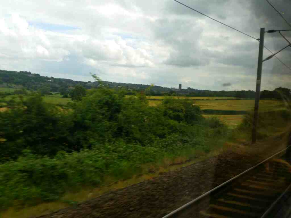Durham Cathederal becoming more distant off a northbound East Coast train