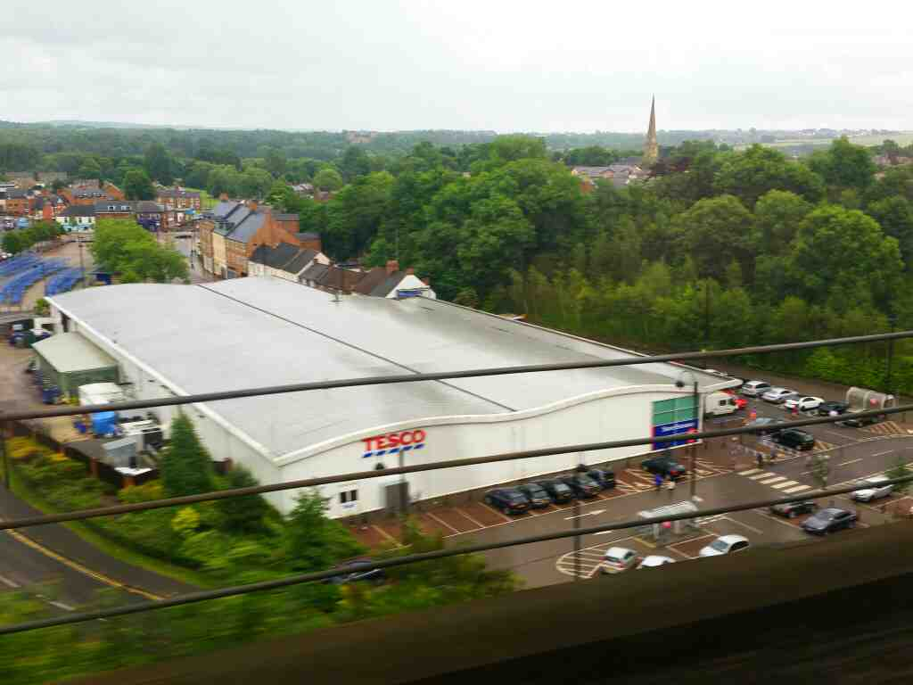 Passing Chester Le Street Tescos on a high viaduct