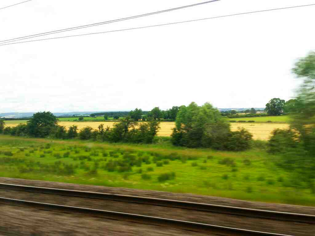 Speeding north between York and Thirsk on an East Coast train