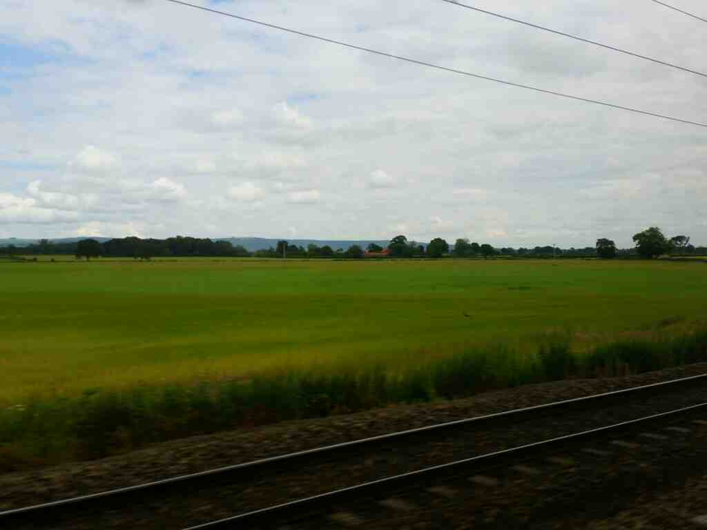A view of the North York Moors from a train on the East Coast Mainline north of Thirsk