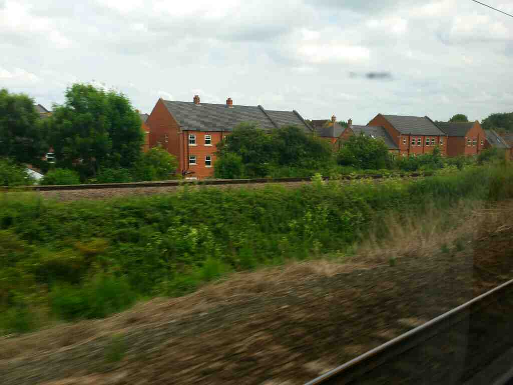 A view of the railway to Yarm and Middlesbrough from a East Coast London Kings Cross to Edinburgh train at Northallerton