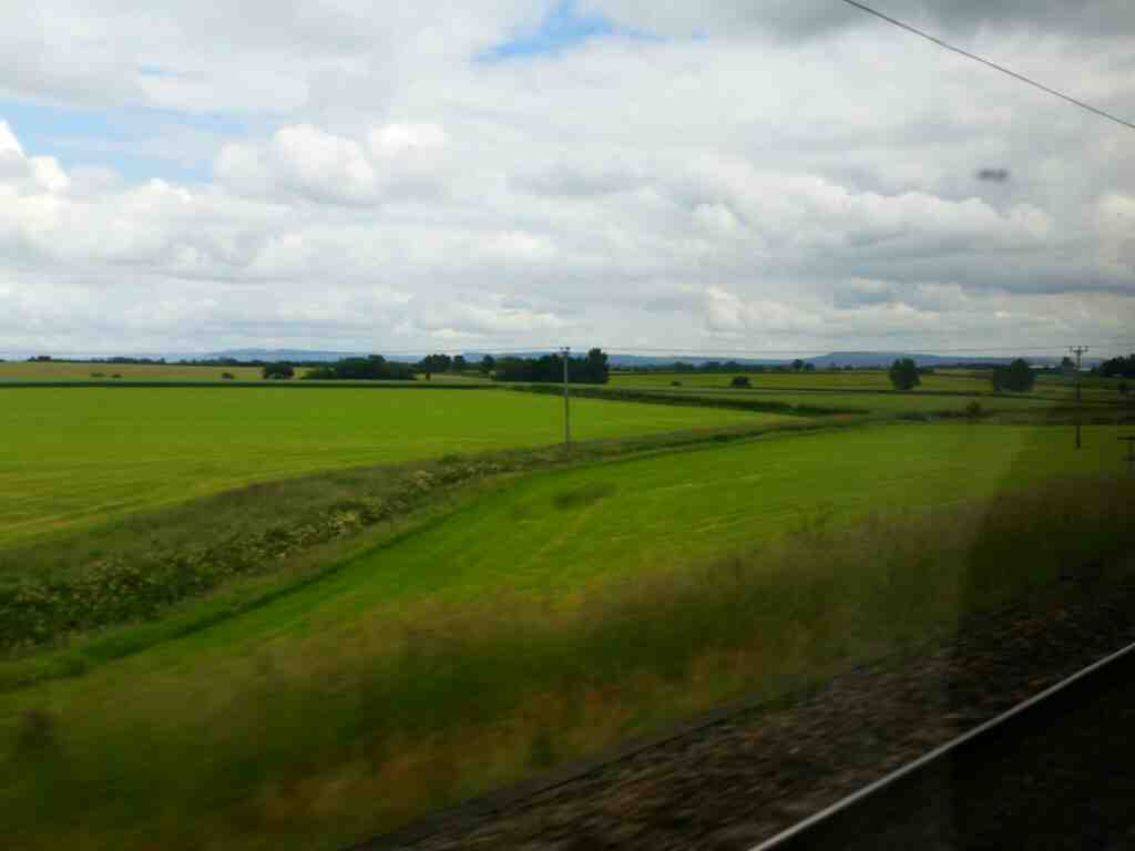 The northen edge of the North York Moors seen off a train on the East Coast Mainline