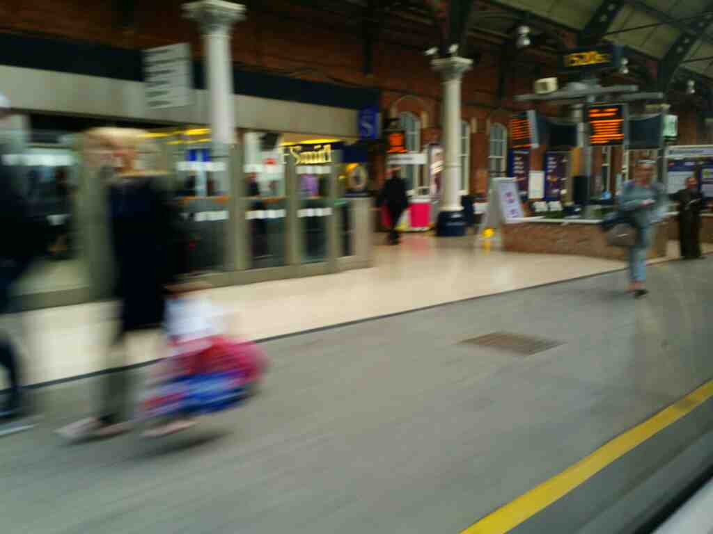 Slowing down in Darlington station on an East Coast train