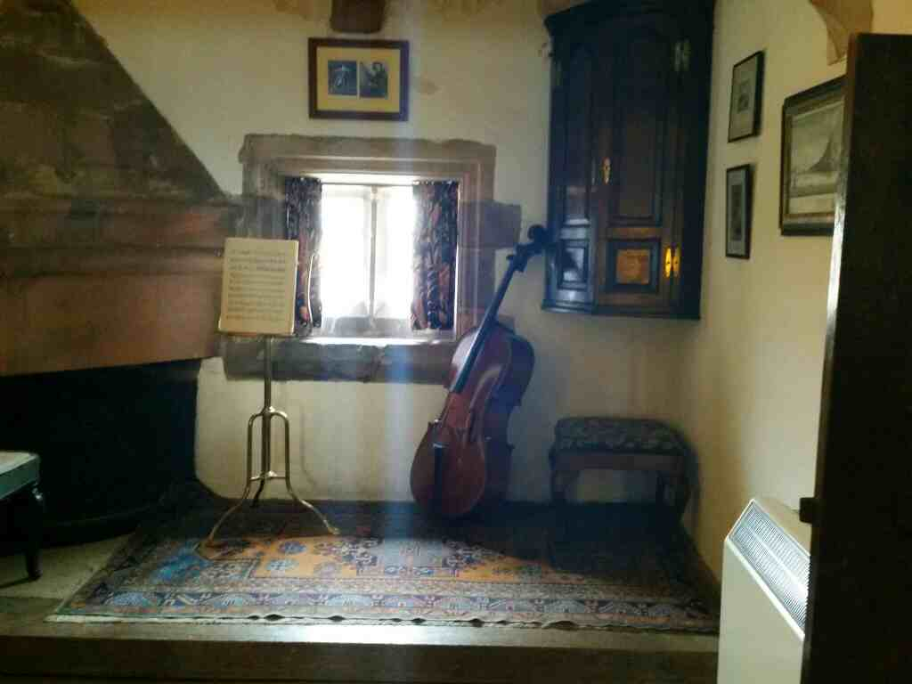 Cello and music stand upper gallery Lindisfarne Castle Holy Island Northumberland