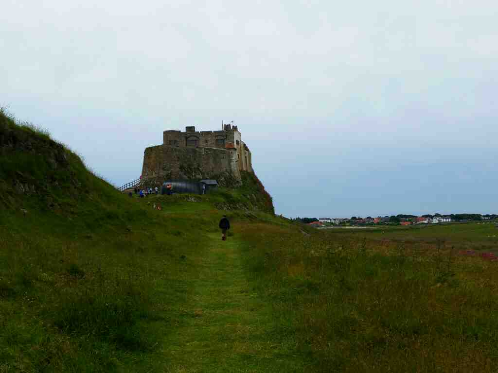 Looking back at Lindisfarne Castle Holy Island Northumberland