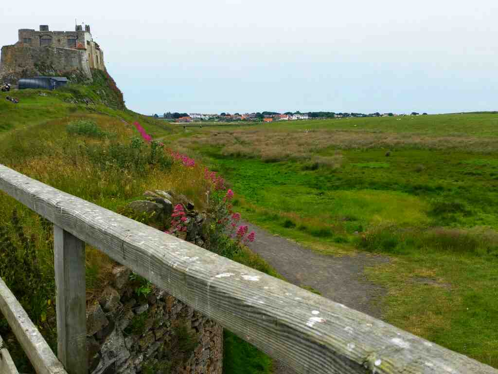Bridge that formed part of the waggonway from the limestone quarries to the lime kilns Lindisfarne Castle Holy Island Northumberland