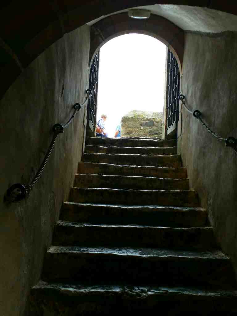 The first set of stairs in Lindisfarne Castle Holy Island Northumberland