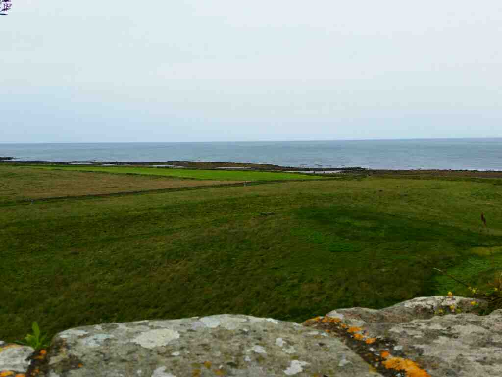 Looking out to sea from the lower battery Lindisfarne Castle Holy Island Northumberland
