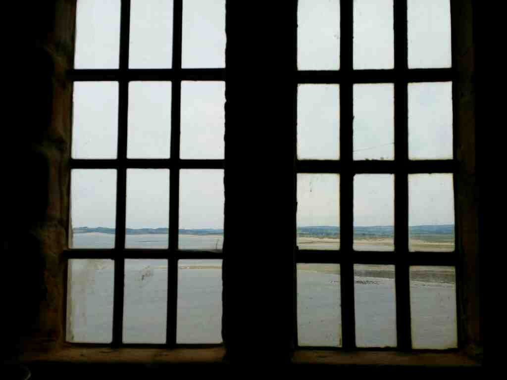 View outside from the Scullery Lindisfarne Castle Holy Island Northumberland