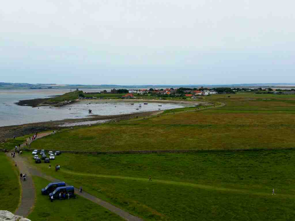 A view to Holy Island village from the upper battery Lindisfarne Castle Holy Island Northumberland