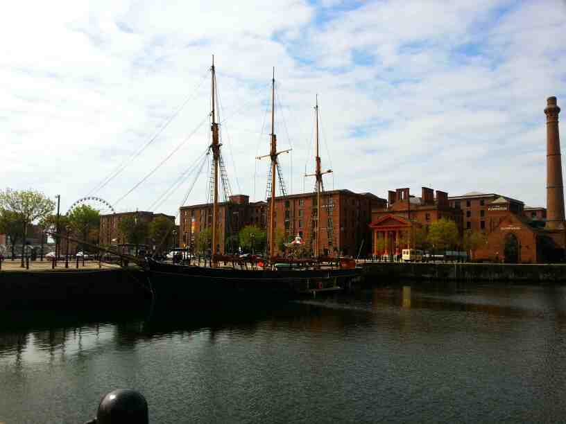 A tall ship at the Entrances to the Albert Dock