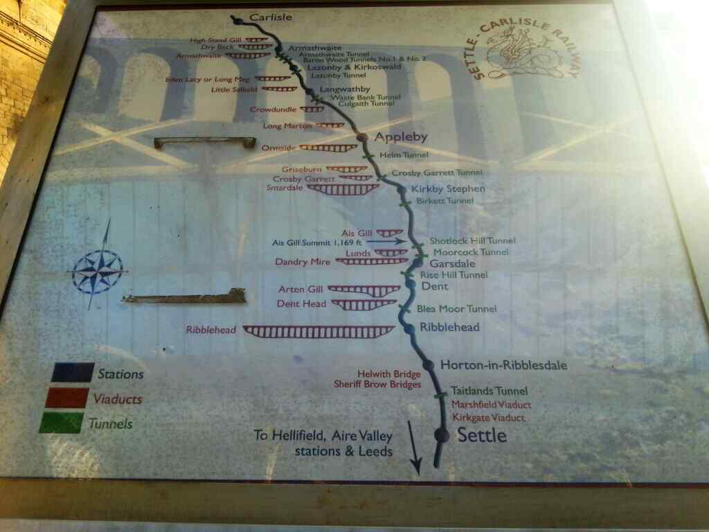 A map of the Settle Carlisle railway.