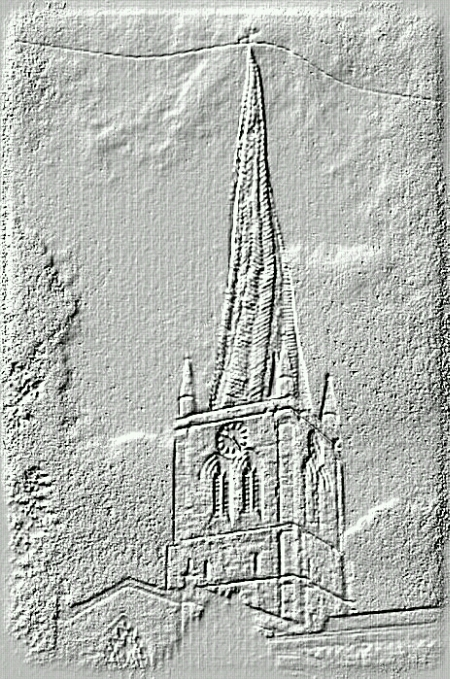 The original drawing of the crooked Spire in Chesterfield.